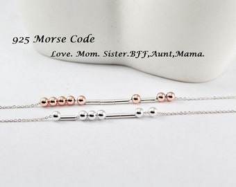 Sterling Silver Morse code bracelet -Love,SOS,Let it be,DAD.Mom,BFF Morse code - Initials,Word,Custom,Name  Morse code