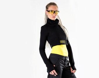 15% OFF Black crop top cyberpunk turtleneck shrug long sleeves thumb holes high collar - CT Q5