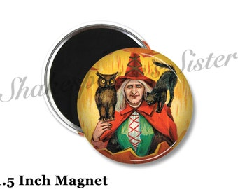 Black Cat and Witch - Fridge Magnet - Gothic Magnet - 1.5 Inch Magnet - Kitchen Magnet