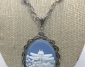 White Dragonfly Necklace| Blue Cameo Necklace| Dragonfly Pendant| Dragonfly Cameo Pendant| Antique Silver Filigre Pendant
