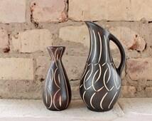Vintage Piesche & Reif vases, German ceramics, mid century pottery, 50s vases, sgraffito