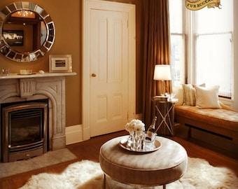 new scalloped faux sheepskin area rug throw carpet plush fur accents pelt hide