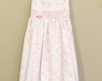 White Linen Dress with Pink Floral Embroidery