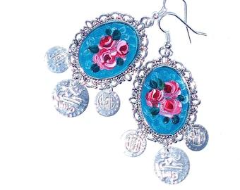 Rose Chandelier Earrings Hand Painted Silver Pendants Romantic Boho Chic Jewelry