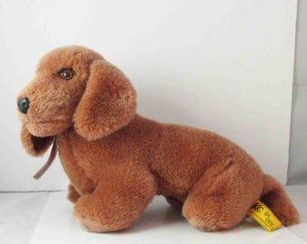 Chocolate Dachshund Doxie Dog Stuffed Plush Toy IKC Special Effects Vintage