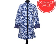 SUMMER SALE IKAT Jacket - All sizes - Blue and White