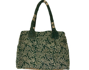 KANTHA Bag - Medium - Deep green with beige pattern