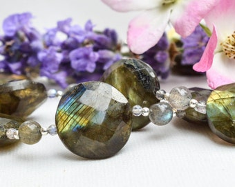 Faceted labradorite coin necklace with  925 sterling silver *Free worldwide shipping*