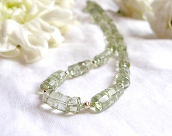 Natural faceted green amethyst necklace with aventurine and sterling silver *Free worldwide shipping*