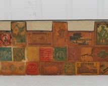 Folk Art Wooden Letter Holder, Handmade, Vintage Postage Stamps (c.pre-1996) Gift Idea, Folk Art, Old Postage Stamps, Chippy  15MV92