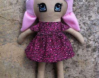 Rae Doll - Handmade Doll - Fabric Doll - Cloth Doll - Dress Up Doll