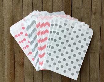 48 Silver and Pink Favor Bags--Chevron and Polka Dot Favor Bag--Candy Favor Bag- Goodie Bags--Chevron Party Sack--Birthday Treat Sacks
