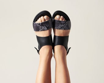 Black leather sandals, flats, leather flats, strappy sandals, summer shoes, leather shoes