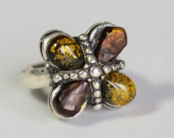 Fire Agate and Amber Sterling Ring