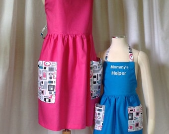 Mother Daughter Apron Set, Personalized Aprons, Monogram, Name, Mommy and Me Aprons, MADE TO ORDER