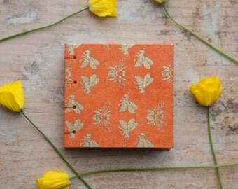 Hand Bound Mini Sketchbook - Coptic Stitch - Journal / Notebook - Orange & Gold Bees - Small - Pocket Journal / Travel Journal - Bumblebee