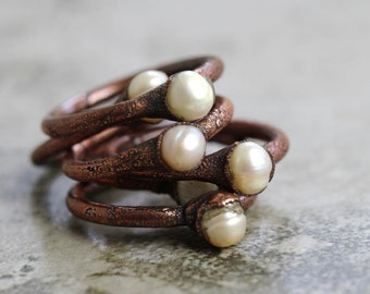 Pearl Ring Electroformed Stone Gemini Jewelry Copper Ring Nautical Jewelry Gemstone Delicate Ring Seaside