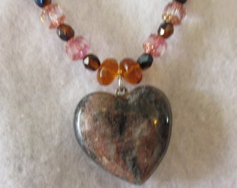 PENDENT NECKLACE, BLENDED Beach Stone Agate