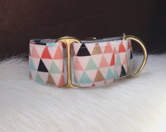 "Adjustable Martingale dog collar ""Pyramid"""