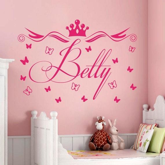 Princess Vinyl Decal Wall Sticker Words Lettering Nursery: Custom Name Wall Decals Princess Crown Decal Nursery By