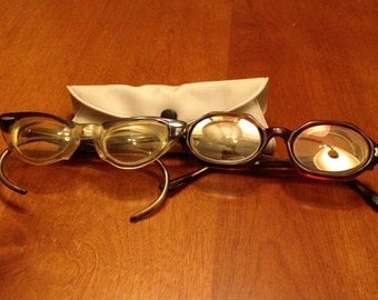 Two Pairs of Vintage Horn Rimmed and Hexagon Children's Glasses with One Case