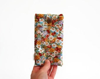 Flower phone sleeve, mobile phone pouch, floral pouch, phone case, vintage, flower pouch, custom made, iPhone, Nokia, Samsung