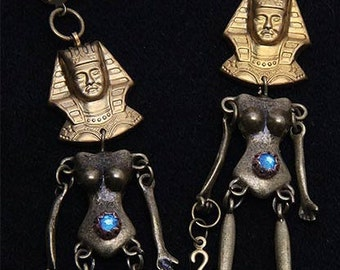 """Large articulated earrings """"mystery of Egypt"""" Pharaohs, Queens of Egypt"""