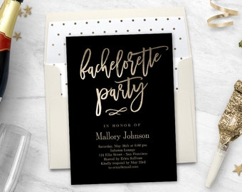 Printable Bachelorette Party Invitation with Bonus Printable Envelope Liner BRUSHED #BCC