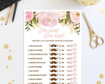 He Said She Said Bridal Shower Game - Wedding Shower - Pink Floral Print at Home Instant Download - How Well Do You Know the Bride and Groom