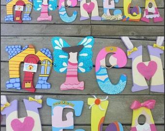 Doc McStuffins Letters - Hand Painted Letters - Name Letters - Wood Letters - Painted Letters - Doc McStuffins - Custom Name Letters