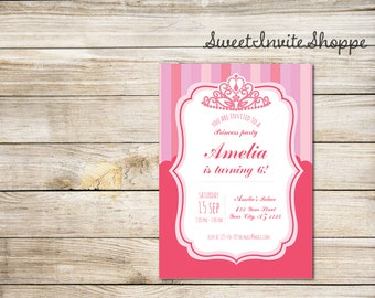 Princess Crown Birthday Invitation, Hot Pink Girls Invitation, Princess Party, Crown Invitation, Royal Birthday Party, Royal Invitation, DIY