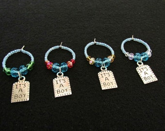 4 New Baby Shower Wine Charms - Light Blue/Silver/Red/Green/Brown - It's a Boy Crystal & Glass Beaded Wine Charms - Hostess Gifts for Her
