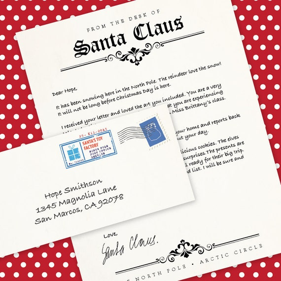 Letter From Santa Claus Ms Word Template By Alittlehopedesigns