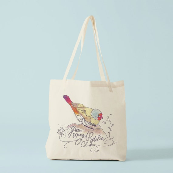 Tote bag, the Green Winged Bird, Cotton bag, canvas bag, yoga bag, baby bag, groceries bag, school bag, novelty gift, gift for coworker.