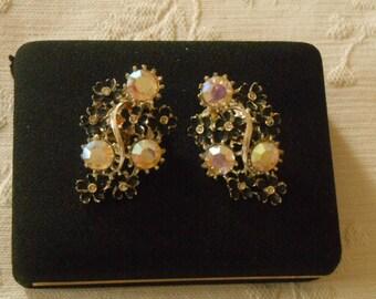 Aurora Borealis Clip Earrings. (245)