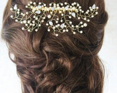 Gold Hair VineGold Bridal Hair SlideDiamante Gold Wedding Hair CombPearl Hair SlideDiamante Hair CombGold Bridal Hair Combbridal Veil