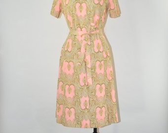 60s pink paisley dress / 1960s drop waist dress / knit jersey pleated dress