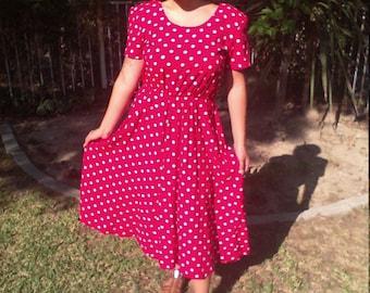 Free Ship, Red Dress, White Polka Dot, Dress, My Michelle, Size 8