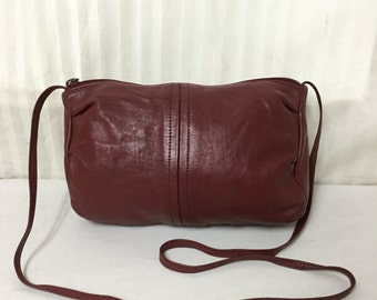 Free Ship Red Leather Purse Small Shoulder Bag