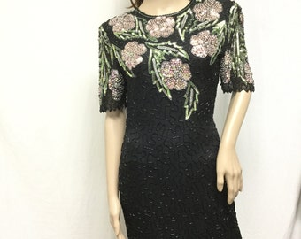 Scala, Beaded dress,Sequin ,Party Dress, Black, Pastel, Flowers, Green, Silver, small,FREE SHIPPING