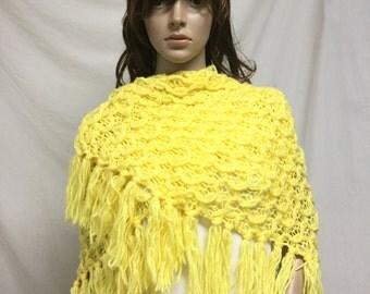 Free Ship,knit shawl, Yellow ,knit wrap, Fringed, Wrap