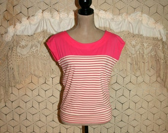 Pink & White Striped Shirt Womens Tops Casual Summer Cotton Blouse Jersey Knit Nautical Sailor Ann Taylor Small Medium Womens Clothing