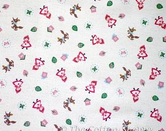 Little Red Riding Hood Fabric ~ Japanese Fabric ~ Kokka Fabric ~ Cream Fabric ~ Home Decor Fabric ~ Cotton Linen Printed Canvas~Girls Fabric