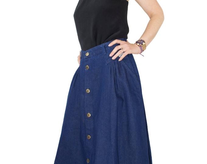 Vintage 80's Denim High Waist Maxi Skirt | Pleated Blue Button-down Full Flare Skirt | Size Medium | Boho Chic Hippie Festival Clothes