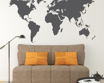 World map decal etsy sg metallic gold silver copper wall vinyl world map decal removable vinyl mural sticker geography one color gumiabroncs Choice Image
