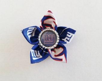 New York Giants Hair Flower, Hairbow, Giants Hair Clip, Football Hair Accessory, Blue and Red Hair Pin, New York Giants Baby