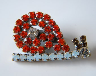 Vintage Czech Glass Rhinestone Orange Snail Button Brooch Up Cycled Re Purposed Vintage Czech Button