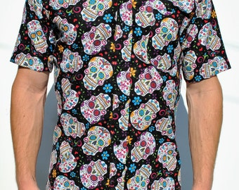 Day of the Dead Short Sleeve Button-Up Shirt