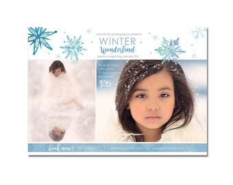 Mini Photography Sessions Template  - Modern -  Winter - Children - Snow - Portraits - 5x7 - Flyer - Digital - Christmas - Xmas, Holiday