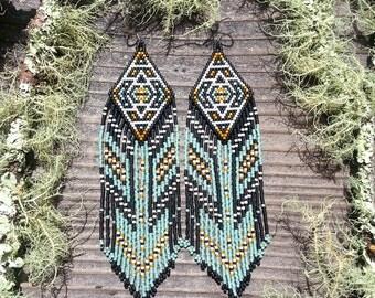 Stone Valley..Beaded Fringe Earrings Native American Inspired
